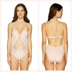 Kenneth Cole Nude Strappy Swimsuit NEW XL
